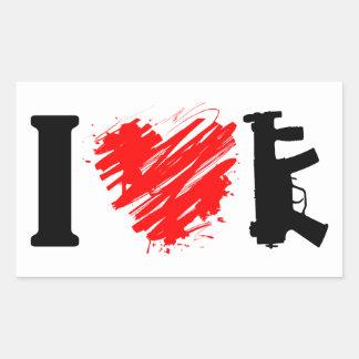 Sticker Rectangulaire J'aime des armes à feu