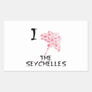 Sticker Rectangulaire J'aime les Seychelles