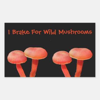 Sticker Rectangulaire Je freine pour la nature mignonne de champignon