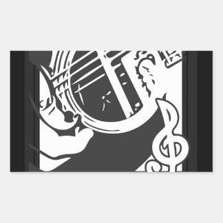 Sticker Rectangulaire Jeu de guitare de mélomane noir et blanc