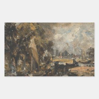 Sticker Rectangulaire John Constable - serrure de Dedham