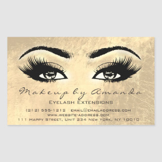 Sticker Rectangulaire La beauté de maquillage d'extension de cil brunit