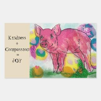 Sticker Rectangulaire La gentillesse et la compassion, donnent la joie,