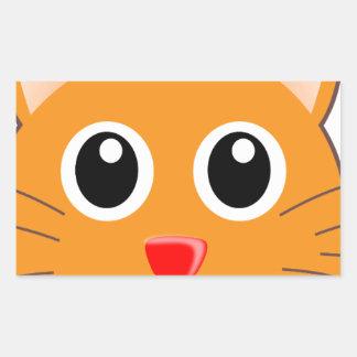 Sticker Rectangulaire Le chat orange au nez rouge