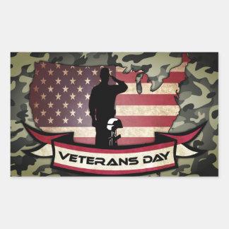 Sticker Rectangulaire Le jour de vétérans unique honore l'autocollant