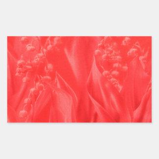 Sticker Rectangulaire Le muguet en rouge
