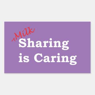Sticker Rectangulaire Le partage de lait s'inquiète avec l'écriture