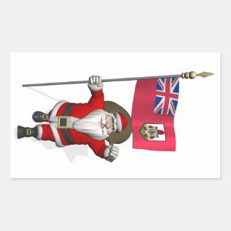 Sticker Rectangulaire Le père noël avec le drapeau des Bermudes