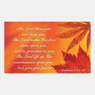 Sticker Rectangulaire Le seigneur Bless You, thanksgiving de feuille