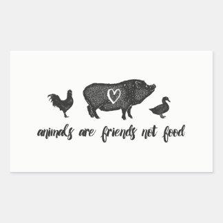 Sticker Rectangulaire les animaux sont nourriture d'amis pas