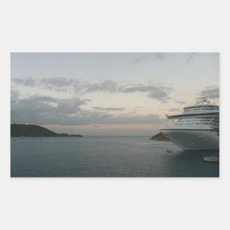 Sticker Rectangulaire Lever de soleil dans la photographie de bateau de