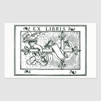 Sticker Rectangulaire Libris Fleur De Lys Cross ex