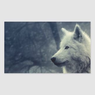Sticker rectangulaire loup
