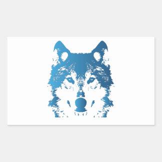 Sticker Rectangulaire Loup de bleu glacier d'illustration