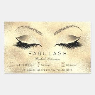 Sticker Rectangulaire Lux de salon de beauté de maquillage d'extension