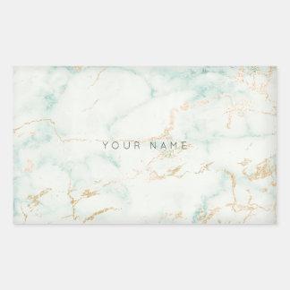 Sticker Rectangulaire Marbre gris en bon état VIP d'or vert de blanc