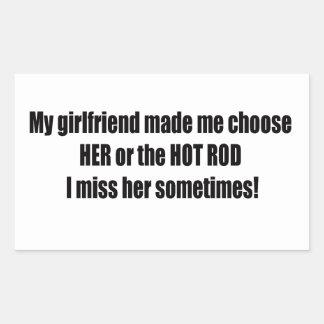 Sticker Rectangulaire Mon amie m'a fait a choisi elle ou le hot rod I