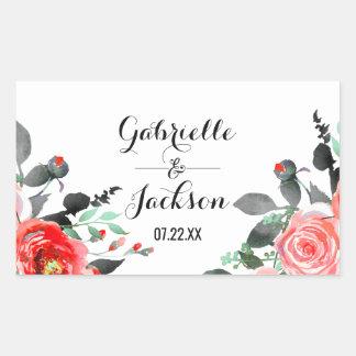 Sticker Rectangulaire Monogramme de mariage d'aquarelle de pivoine de