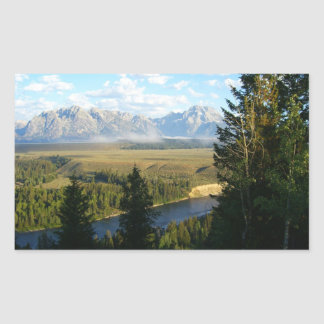 Sticker Rectangulaire Montagnes et rivière de Jackson Hole