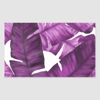 Sticker Rectangulaire Motif tropical rose de feuille de banane