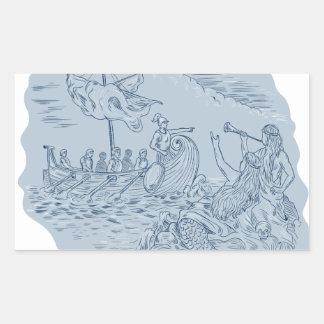 Sticker Rectangulaire Navigateur de Trireme de Grec se dirigeant évitant