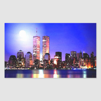 Sticker Rectangulaire New York City à l'autocollant de rectangle de nuit