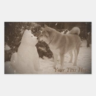 Sticker Rectangulaire Noël de baiser mignon de photo d'akita de bonhomme