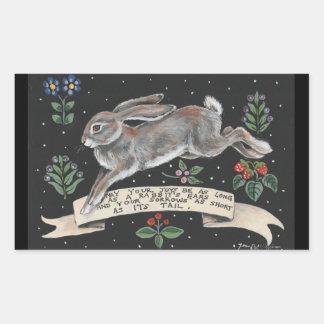 Sticker Rectangulaire Noir inspiré d'autocollant de lièvres de lapin