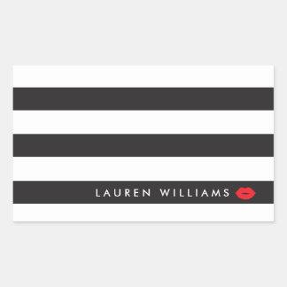 Sticker Rectangulaire Noir Luxe/blanc barre le maquilleur rouge de