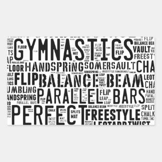 Sticker Rectangulaire Nuage de mot de gymnastique dégringolant