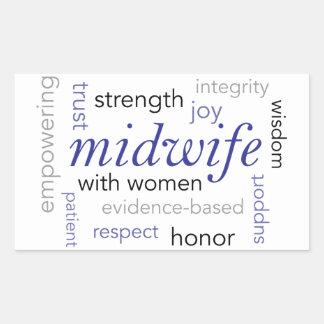 Sticker Rectangulaire nuage de mot de sage-femme