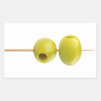 Sticker Rectangulaire Olives dénoyautées par vert sur une brochette