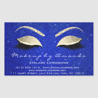 Sticker Rectangulaire Or de bleu de salon de beauté de maquillage