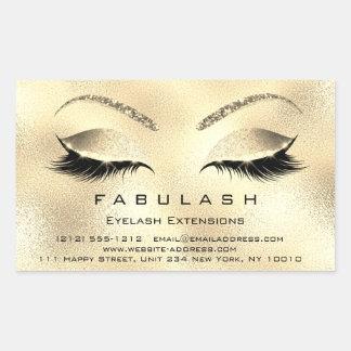 Sticker Rectangulaire Or VIP de salon de beauté de maquillage