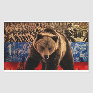 Sticker Rectangulaire Ours russe