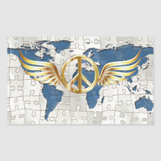 Sticker Rectangulaire Paix du monde