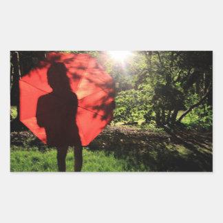 Sticker Rectangulaire Parapluie de silhouette d'ombre en dehors