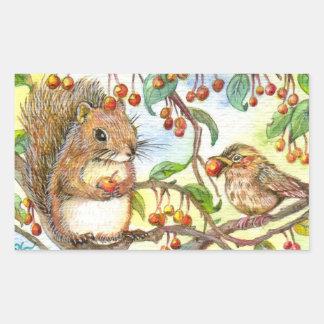 Sticker Rectangulaire Partageons - écureuil et moineau