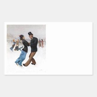 Sticker Rectangulaire Patineurs de glace vintages romantiques