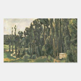 Sticker Rectangulaire Paul Cezanne - peupliers
