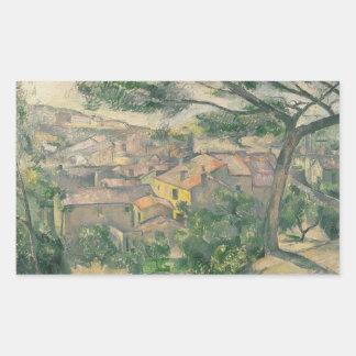Sticker Rectangulaire Paul Cezanne - vue de matin de L'Estaque contre