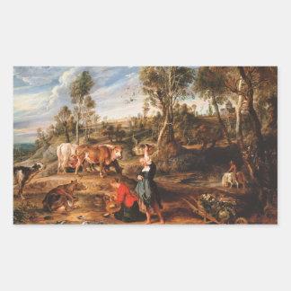Sticker Rectangulaire Peter Paul Rubens - trayeuses avec des bétail