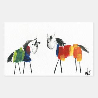 Sticker Rectangulaire Peu de poneys d'arc-en-ciel