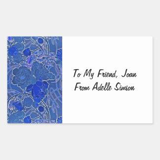 Sticker Rectangulaire Pivoines bleues
