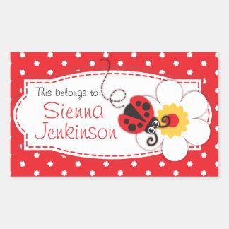 Sticker Rectangulaire plat de livre de coccinelle d'enfants ou