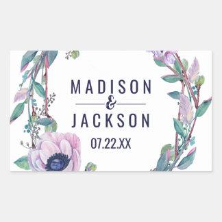 Sticker Rectangulaire Plume de Boho et monogramme floral de mariage de
