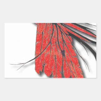 Sticker Rectangulaire plume d'oiseau rouge