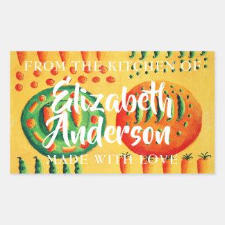 Sticker Rectangulaire Pois et carottes de la cuisine de