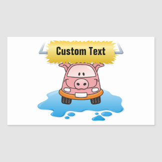 Sticker Rectangulaire Porc de lave-auto