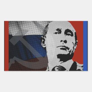 Sticker Rectangulaire Poutine avec le drapeau russe